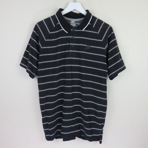Nike Other - Nike Black Retro Style Striped Polo Shirt
